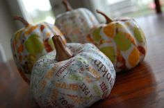 So cute! mod podge pumpkins