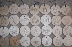 Jesse tree round ornaments (to put on wood branch/log round cuts)