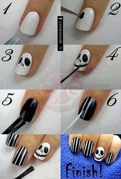 Happy Halloween Nail Art: Skeleton nails