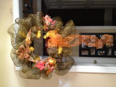 Autumn Wreath made from Geo Mesh and ribbon.