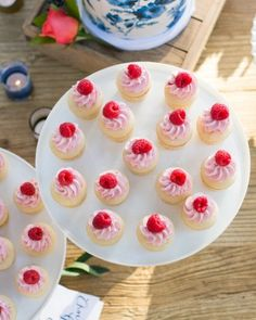 Mini sweets, like raspberry cupcakes, were also set out for dessert.