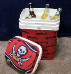 Tailgate cooler out of a cat litter container