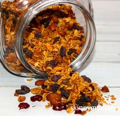 We like granola in our morning oatmeal or quinoa, as a breakfast cereal,  or add to a ziplock bag for a mid-morning snack for mom or the kids. #skinnyms #snackidea #kids #moms