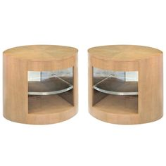 """Pair of """"Cilindro"""" side tables in African avodire by Sally Sirkin Lewis 