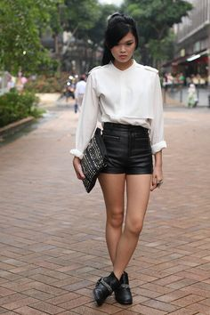 Leather and flowy whites!