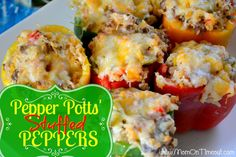 Pepper Potts' Stuffed Bell Peppers | Mom On Timeout  - So delicious!  Perfect for dinner or parties!