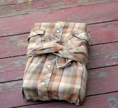 wrap a gift in a secondhand men's shirt