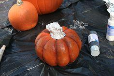 Antique a pumpkin using black acrylic paint. Paint on, rub off. Voila