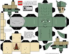 yoda 3d paper crafts, paper toys, starwars crafts, paper models