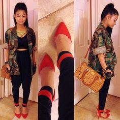 heels swag, spring swag outfits, red pump, camo heel, wear, spring outfits