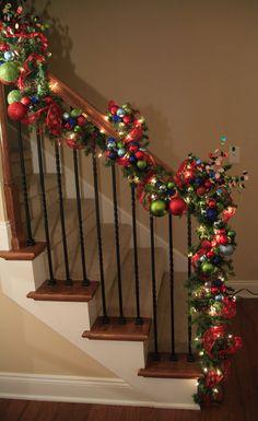 christmas time, balls, stair, christmas decorations, christma decor, color christma, holiday decorating, christmas garlands, christma banist