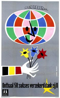 World Exhibition Expo 1958 Poster by Lionel Mathy #ExpoVintage