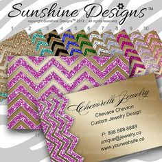 Jewelry Business Card Branding Unique Chevron by SunshineDesigns88, $28.98