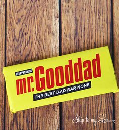 free printable candy bar wrapper for Father's Day - Mr. Gooddad