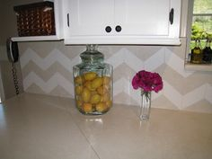 Chevron tile backsplash made with contact paper (HoH98)