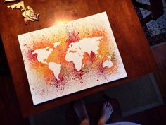 Hand Painted Splatter World Map Canvas by HuesOfGrace on Etsy
