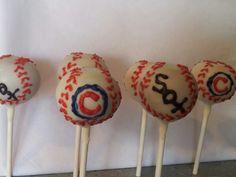 Cubs and Sox cake pops!  www.cakepopcharm.com