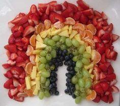 RAINBOW FRUIT DISPLAY. healthy snacks, birthday parties, food, fruit platters, first birthdays, fruit displays, kid parties, fruit rainbow, fruit trays