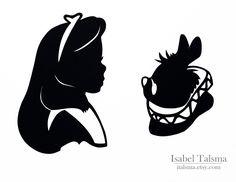 Alice in Wonderland (Alice and the White Rabbit) Handcut Disney Silhouettes