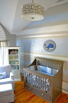 Nursery with Striped Accent Wall - and how fab is this drum light?!