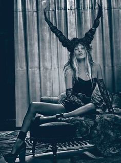 Kate  Moss with horns. Photograph by Steven Klein, Styled by Edward Enninful W magazine, March 2012