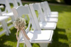aisle decorations, babies breath, plant hangers, ceremoni, jar, flower ideas, wedding chairs, chair decorations, babi breath