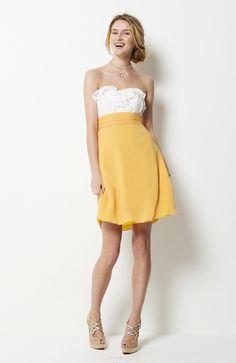 Chiffon  White & Yellows A-line Strapless Knee-length Sweetheart Bridesmaid Dresses $67