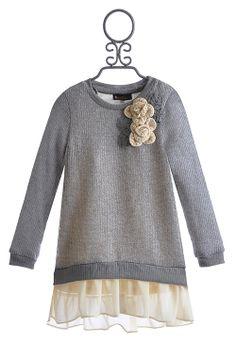 Hannah Banana Chiffon Trimmed Tween Sweater Dress