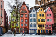 Colored Houses in Cologne, Germany