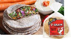 7 Whole Grain Pocket Bread. Organic 100% Stone Ground Whole Wheat flour, Water, Fresh Carrots, Brown Rice Flour, Oat Flour, Barley Flour, Millet Flour, Rye Flour, Corn Flour, Fresh Yeast, Soy Flour, Sea Salt.