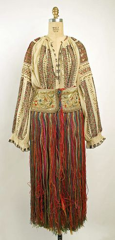 Dress, cotton and silk, Apron, silk and wool, 19th century, Romanian.