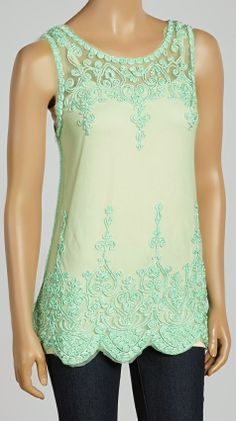 Cute mint embroidered tank top