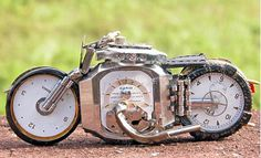 Motorcycle art from watch parts
