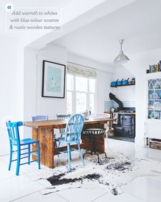 Different shades of blue chairs.