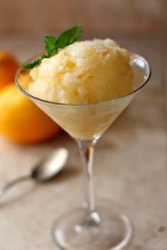 Meyer Lemon Sorbet is a perfect dessert or as a nice palate cleanser ...
