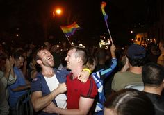 On the night of June 24, people celebrated the passage of gay marriage at the historic Stonewall Inn in New York City.