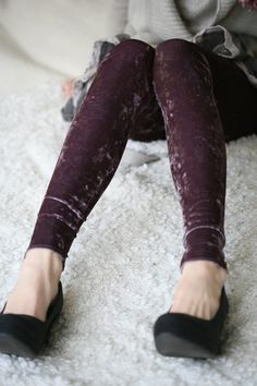 #velvet #leggings #purple #plum #shirt #heels #black #shoes #pumps #womens #fashion #street #style