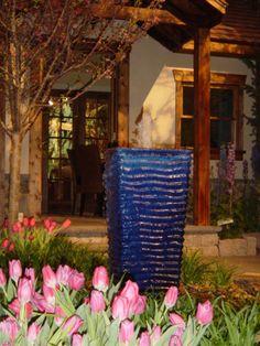 Large Blue Ripple Vase Fountain  www.dutchmanfountains.com