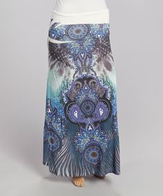 Blue Peacock Maxi Skirt - Plus | zulily
