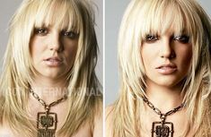 Britney with and without Photoshop. #retouch galleri, funny pictures, layered hair, beauty, celebr, plastic surgery, eyes, britney spears, photoshop