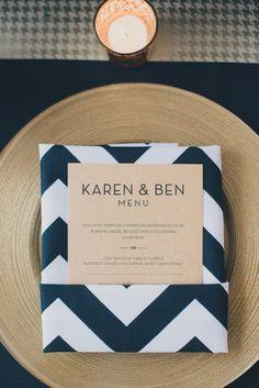 galleries, chevron napkins, idea, wedding receptions, menu cards, modern photography, modern weddings, black white, fonts