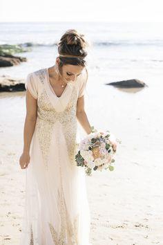 sparkling wedding dress from BHLDN Photography: Amy Jo Royall - AmyJoRoyall.com  Read More: http://www.stylemepretty.com/2014/06/02/glittering-seaside-wedding-in-newport-beach/