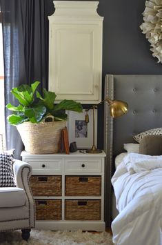 Dark gray walls with white accents