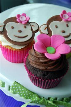 Mod Monkey Girl Cupcakes