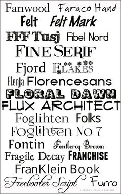 F is for Font  ~~ {23 Free fonts -- no links but most can be found with a google search and most are free for commercial use}