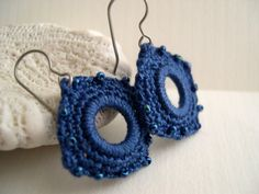 Sapphire blue square earrings - shiny deep blue beads - Handmade crochet jewelry - titanium hooks - ETSY FRONT PAGE - statteam, 4.5cm     $21.00     @masibill