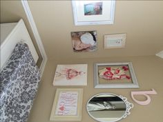 Adorable gallery wall in a #biggirlroom - we love the itty bitty swimsuit on display! #gallerywall