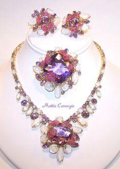 1950s Ultra RARE Hattie Carnegie Amethyst Ice Parure Necklace Earrings Brooch | eBay