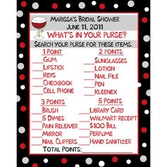 24 Bridal Shower Game Cards   Whats In Your Purse by partyplace, $7.00