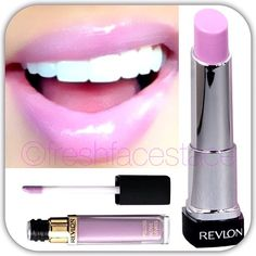 REVLONS LIP BUTTER IN 'GUMDROP' LAYERED WITH REVLONS LIP GLOSS IN 'LILAC PASTELLE'